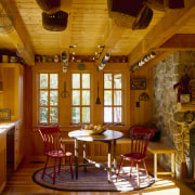 View of a casual dining area which features café, ceiling, dining room, furniture, home, interior design, lighting, living room, restaurant, room, table, wood, brown
