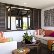 View of the lounge area with shutters and interior design, living room, real estate, room, window, window covering, window treatment, gray