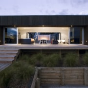 Exterior view of the fron of the beach architecture, home, house, real estate, black