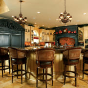 Traditional Kitchen with Island bar stools - Traditional cabinetry, countertop, dining room, flooring, interior design, kitchen, brown, orange
