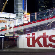 View of the new TKTS ticketing booth in advertising, architecture, building, city, downtown, metropolis, metropolitan area, technology, urban area, black, white