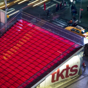View of the new TKTS ticketing booth in car, red, sport venue, structure, red