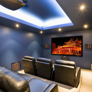 View of a home theatre with screen, projector, ceiling, home, interior design, lighting, room