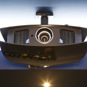 View of a home theatre projector. - View product design, technology, white, black