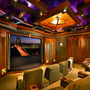Image of this home theatre which seats 12 entertainment, home, interior design, lighting, room, theatre, brown