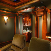 Image of this home theatre which seats 12 ceiling, entertainment, interior design, lighting, room, theatre, brown
