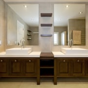 Image of the bathroom which the vanities have bathroom, cabinetry, countertop, interior design, room, sink, brown, gray