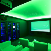 View of home cinema with projector screen, audiovisual architecture, green, interior design, light, lighting, green