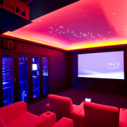 View of home cinema with projector screen, audiovisual interior design, light, lighting, magenta, purple, red