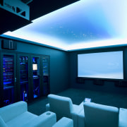 View of home cinema with projector screen, audiovisual architecture, blue, display device, interior design, lighting, technology, teal, black