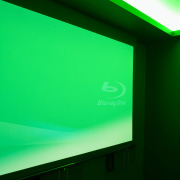 View of projector screen in home theatre. - daylighting, display device, green, light, lighting, projection screen, technology, green