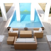 View of a pool which has the new architecture, chair, daylighting, floor, furniture, outdoor furniture, product design, property, sunlounger, swimming pool, table, wood, white