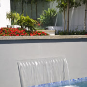 Image of the pool which has been designed leisure, plant, property, swimming pool, water, water feature, gray