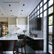 View of a new kitchen which features limestone architecture, ceiling, countertop, home, interior design, kitchen, room, window, gray, black