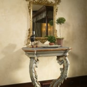 View of antique mirror and table. - View antique, furniture, table, orange, brown