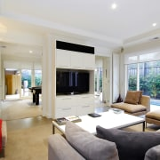 View of the living area of a home ceiling, estate, interior design, living room, property, real estate, room, gray, white
