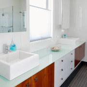 View of the bathroom of a family home bathroom, bathroom accessory, bathroom cabinet, countertop, interior design, room, sink, gray, white