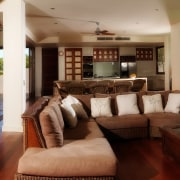 Interior view of tropical resort-style house which was estate, interior design, living room, property, real estate, resort, red