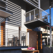 Exterior view of this renovated Brisbane home which architecture, building, facade, house, stairs, black