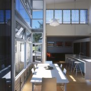 View of the main dining area featuring bamboo architecture, daylighting, house, interior design, loft, window, gray, black