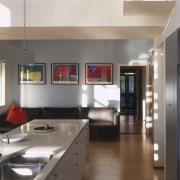 View of kitchen area a long kitchen island, countertop, interior design, kitchen, gray