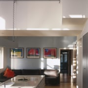 View of kitchen area a long kitchen island, architecture, ceiling, countertop, daylighting, house, interior design, kitchen, loft, room, gray