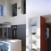 View of kitchen area a long kitchen island, architecture, interior design, shelf, shelving, white, gray