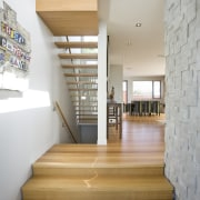 View of multiple stairways, one leading up to apartment, architecture, ceiling, daylighting, floor, flooring, hardwood, home, house, interior design, laminate flooring, loft, real estate, stairs, wood, wood flooring, gray
