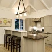 View of kitchen area, stainless steel and oak ceiling, countertop, cuisine classique, floor, interior design, kitchen, room, orange