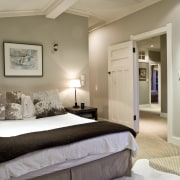 View of a bedroom, bed with white linen, bed frame, bedroom, ceiling, home, interior design, real estate, room, suite, gray