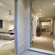 View of a hallway with bedroom on the ceiling, floor, interior design, real estate, window, gray