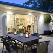 View of outdoor entertaining area, paving, outdoor dining backyard, courtyard, estate, home, house, interior design, patio, property, real estate, villa, window, black, gray