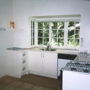 View of kitchen prior to renovations. - View countertop, home, kitchen, property, real estate, room, window, white, gray