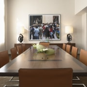 View of a conference room at the Phillips furniture, interior design, living room, room, table, white, brown