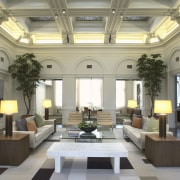 View of informal meeting areas which feature custom ceiling, daylighting, estate, interior design, living room, lobby, window, gray