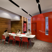 View of a student common area which features architecture, ceiling, house, interior design, lobby, table, brown, red, gray
