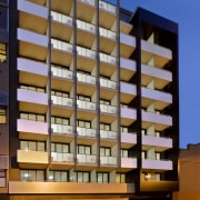 Exterior view of the D2 student accommodation building apartment, architecture, building, commercial building, condominium, corporate headquarters, facade, home, hotel, metropolis, metropolitan area, mixed use, real estate, residential area, tower block, brown, blue