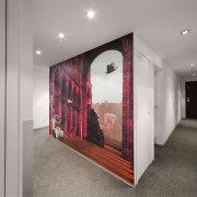 View of a hallway which features a mural, ceiling, interior design, real estate, room, gray
