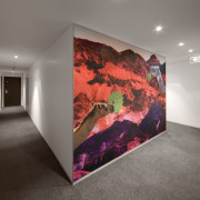 View of a hallway which features a mural, art, art gallery, ceiling, exhibition, interior design, modern art, wall, gray