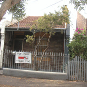Exterior view of the front of the house area, building, facade, gate, home, house, neighbourhood, property, real estate, residential area, tree, gray