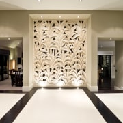 View of a custom-designed carved sandstone wall at ceiling, floor, flooring, interior design, lobby, wall, white