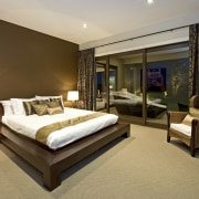 View of contemporary home with light-toned and beige bed frame, bedroom, ceiling, estate, hotel, interior design, real estate, room, suite, brown