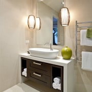 View of contemporary home with light-toned and beige bathroom, bathroom accessory, bathroom cabinet, floor, interior design, plumbing fixture, product design, room, sink, gray