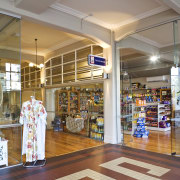 Interior view of retail shops at the restored convenience store, interior design, outlet store, retail, shopping mall, supermarket, gray, brown