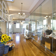 Interior view of retail shops at the restored ceiling, interior design, real estate, gray