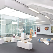 View of a gallery space on the mezzanine architecture, daylighting, exhibition, interior design, product design, white