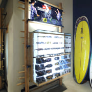 View of the glass cabinet sunglasses display. - display case