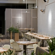 View of the cafe area at the St architecture, interior design, restaurant, table, gray