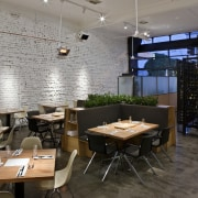 View of the cafe area at the St architecture, café, ceiling, furniture, interior design, restaurant, table, gray, black