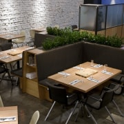 View of the cafe area at the St chair, furniture, interior design, restaurant, table, black